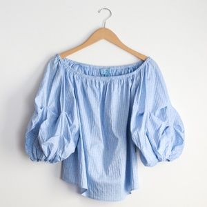 NWT CeCe Off the Shoulder Balloon Sleeve Blouse
